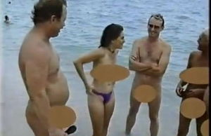 Bra-less Reporter on Haulover Bare Beach
