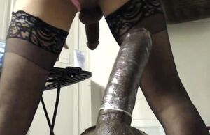 Ass-fuck a fat dark-hued faux-cock