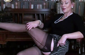 Mature taunt in seamed  and satin..