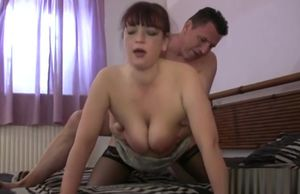 Stockinged german cougar take man meat